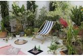 Danville Folding Bamboo Relax Sling Beach Chair Breakwater Bay Cushion Color: Blue