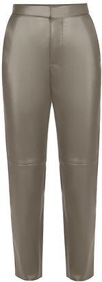 Flow Faux Leather Trousers In Taupe
