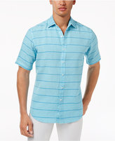 Club Room Men's Garment-Dyed Striped Linen Shirt, Only at Macy's