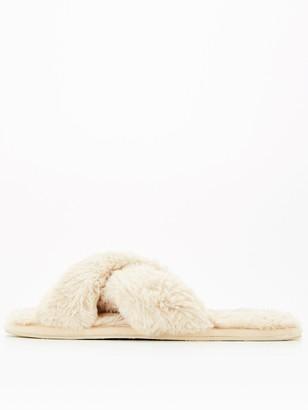 Hunkemoller Cross Strap Faux Fur Slippers - Oatmeal