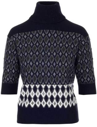 Chloé Turtleneck Patterned Short Sleeve Top
