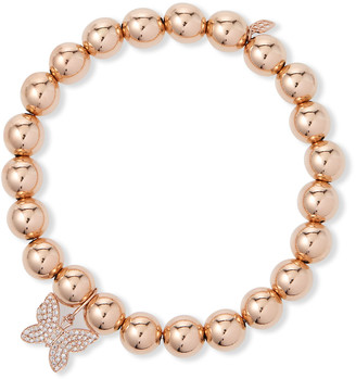Sydney Evan 14k Rose Gold Diamond Butterfly Bead Bracelet