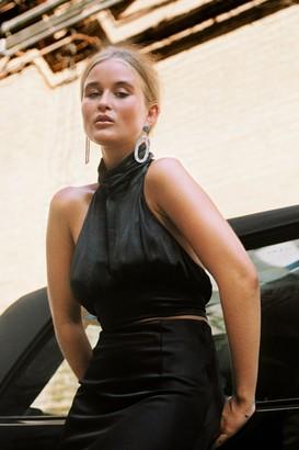 Nasty Gal Womens Halter Perceptions Satin Crop Top - Black