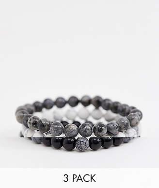 Reclaimed Vintage inspired monochrome semi precious beaded bracelet pack exclusive at ASOS-Black