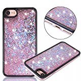 Urberry Iphone 7 Case, Bright Black Running Glitter Cover, Creative Design Flowing Liquid Floating Luxury Bling Hard Case for 4.7 inch iPhone 7 with a Screen Protector (Pink)