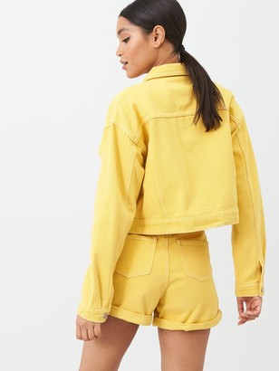 Missguided Double Utility Pocket Detail Denim Jacket Co Ord Mustard