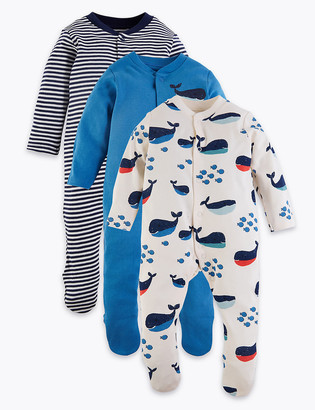 Marks and Spencer 3 Pack Organic Cotton Nautical Sleepsuits (6lbs-3 Yrs)