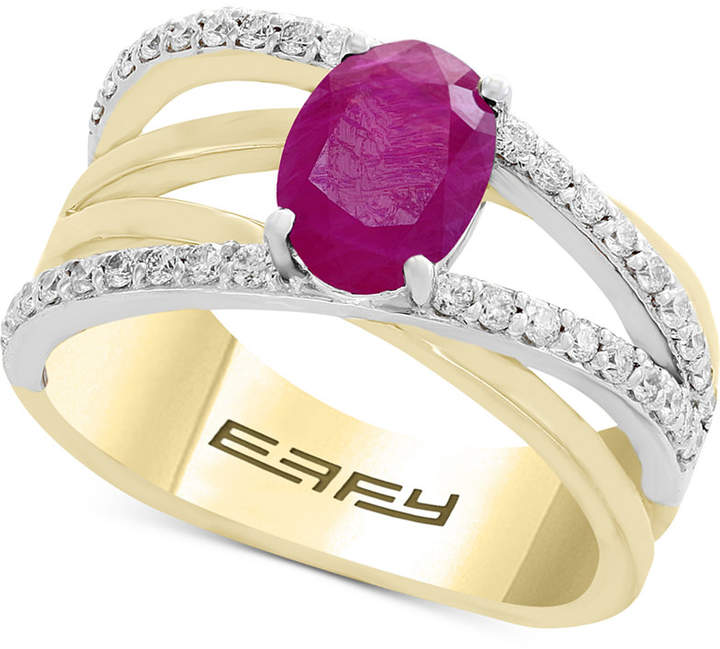 Effy Final Call by Ruby (1-3/8 ct. t.w.) & Diamond (1/3 ct. t.w.) Crisscross Ring in 14k Gold & White Gold