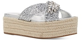 Miu Miu Women's Crystal Embellished Glitter Platform Sandals