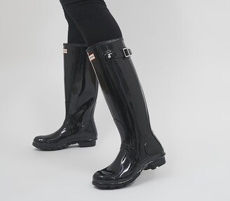 Hunter Womens Original Tall Gloss Wellies Black Gloss