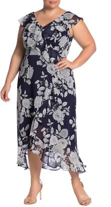 London Times Ruffle Wrap Maxi Dress (Plus Size)