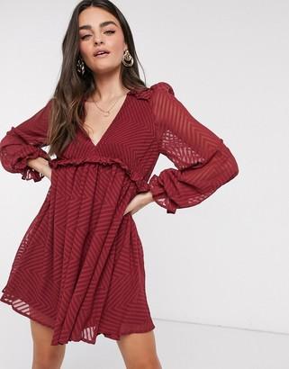 ASOS DESIGN mini babydoll smock dress in chevron jacquard mesh