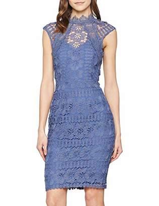 Little Mistress Women's Tamsin Blue Crochet Pencil Dress Party ,(Size:)