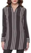 Akris Striped Silk Zip-Front Tunic Blouse