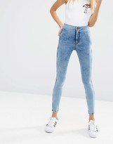 Asos Rivington Denim High Waist Jeggings in Marbled Mid Wash