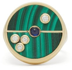 Retrouvai - Compass Diamond, Sapphire, Malachite & Gold Ring - Womens - Green Gold