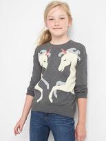 Gap Intarsia unicorn hi-lo sweater