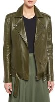 Theory Tralsmin Wilmore Leather Biker Jacket, Stem Green