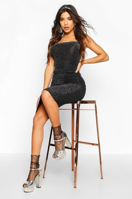 boohoo Metallic Square Neck Strappy Bodysuit