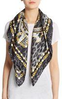 Roberto Cavalli Silk Chain & Leopard-Print Scarf