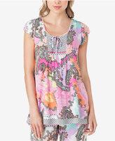 Ellen Tracy Flutter-Sleeve Mixed-Print Pajama Top