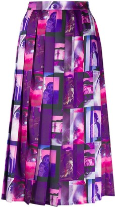 MSGM Graphic-Print Pleated Skirt