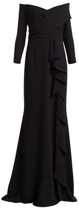 Teri Jon By Rickie Freeman Three-Quarter Crepe Ruffle Column Gown