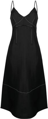 Jil Sander contrast-stitching V-neck midi dress