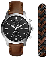 Fossil Fs5394set Townsman Chronograph Leather Strap Watch And Bracelet Set, Brown/black