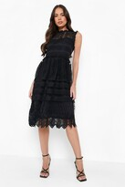boohoo Boutique Paula Lace Midi Skater Dress