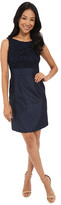 Tahari by Arthur S. Levine Petite Embroidered Top/Shantung Skirt Sheath Dress