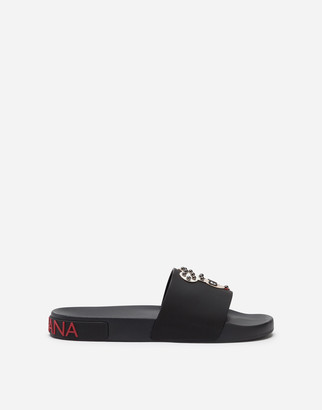 Dolce & Gabbana Slippers In Rubber And Calfskin With Designers Patches