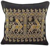 Maya Animal Theme on Hand Woven Black Cotton Cushion Cover, 'Maya Deer at Night'
