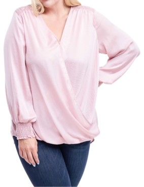 Fever Plus Size Smocked Faux-Wrap Top
