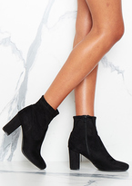 Missy Empire Calla Black Suede Heeled Ankle Boots