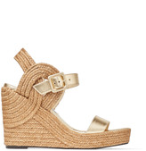 Jimmy Choo DELPHI 100 Metallic Gold Nappa Leather Wedge Sandals with Braided Rope