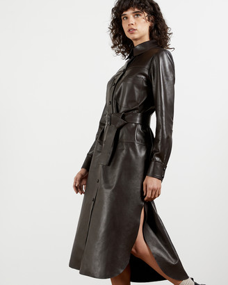 Ted Baker BOWSIEY Leather Chuck-On Shirt Dress
