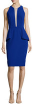 Carmen Marc Valvo Sleeveless Peplum Deep-Illusion Cocktail Dress