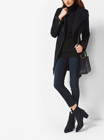 Michael Kors Faux Leather-Trimmed Wool And Cashmere Coat