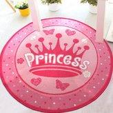 MeMoreCool Bright Pink Playtime Girls Princess Bedroom Rug Kids / Childs Sweet Pink Carpet Nylon Round Play Mat 39 Inch