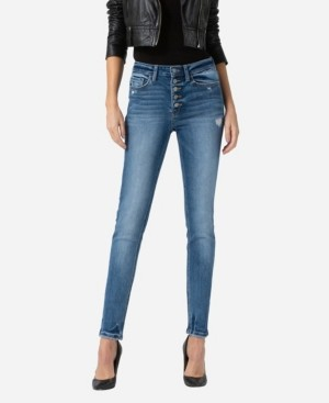 Flying Monkey Women's High Rise Button Up Skinny Ankle Jeans