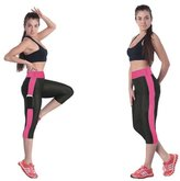 Gym Tracksuit Flexible Women Cropped Leggings Capri Running Yoga Sport Pants High Waist Tight Fitness Size XL