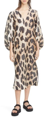 Ganni Leopard Print Long Sleeve Linen & Silk Maxi Dress