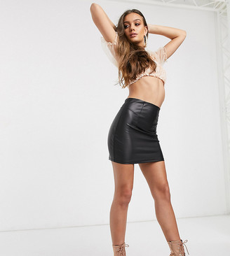 ASOS DESIGN Petite leather look seamed super mini skirt in black
