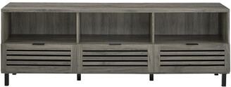 Hewson 70In Modern Wood Slat Door Tv Stand Storage Console