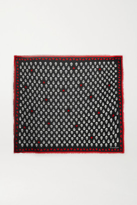 Alexander McQueen Fringed Printed Modal Scarf - Black