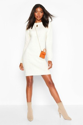 boohoo Tall Crew Neck Long Sleeve Dress