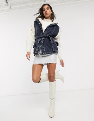 Topshop denim vest with borg lining in dark wash blue