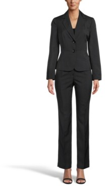 Le Suit Mini Crosshatch Button-Front Notched-Collar Pantsuit