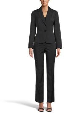 Le Suit Petite Stretch Crepe Slim Pantsuit